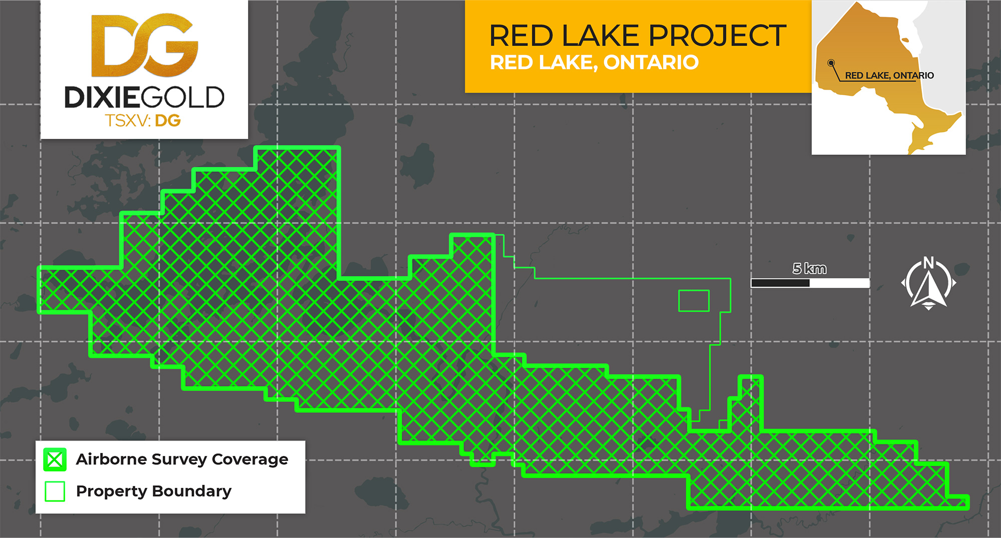 Figure 2: Dixie Gold Inc. - Coverage Map of the Fall 2020 Geophysical Survey at the Red Lake Gold Project